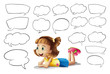A smiling girl and speech bubbles