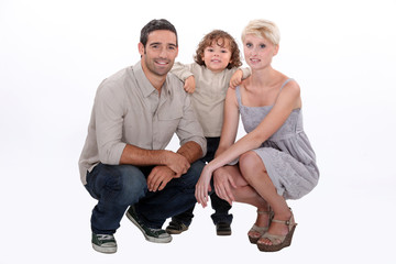 Studio shot of young family