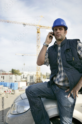 Construction foreman arriving in to work