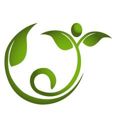 Healthy leaf men fitness logo eps10