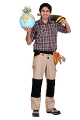 a carpenter holding a globe