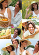 Summery couple in a meadow montage