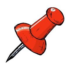 hand drawn, vector, cartoon image of drawing pin