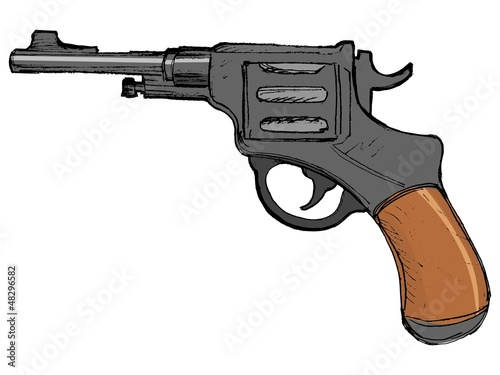 hand drawn, vector, cartoon image of revolver