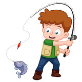 illustration of Cartoon Boy fishing