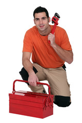 Plumber with toolbox