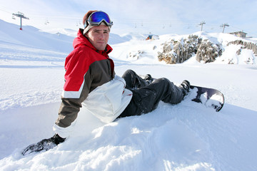 Snowboarder sat taking a little break