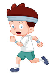 illustration of Cartoon boy jogging