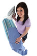 High-angle shot of a woman ironing