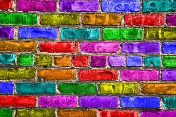 Mur de briques multicolores