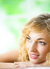 Smiling young beautiful woman, indoors
