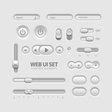 Light Web UI Elements Design Gray. Buttons, Switchers, Slider