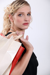 Glamorous woman with store bags
