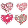 Set of valentine hearts in floral style isolated on background