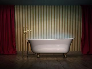 Wanne eingelassenes Bad dampft vintage