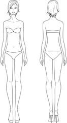 Vector illustration of woman's fashion figure.