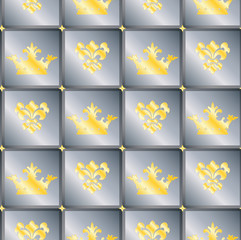 Seamless background with crowns and Fleur de lis