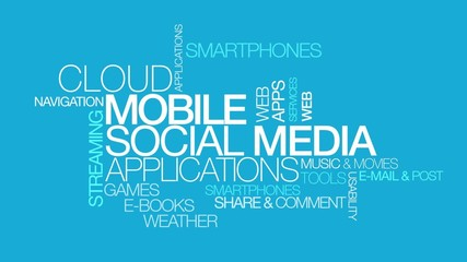 Mobile social media networks apps blue word tag cloud video