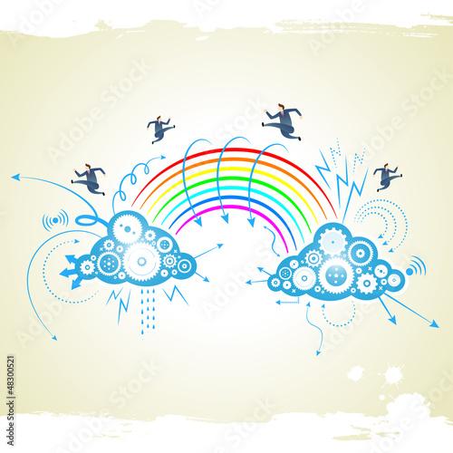 businessman with rainbow