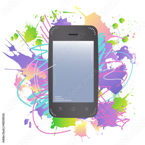 The smart phone with colorful ink