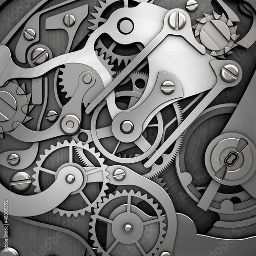 silver clockwork 3d illustration
