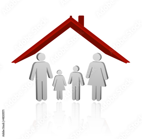 Illustration of a house with family. safe home child protection
