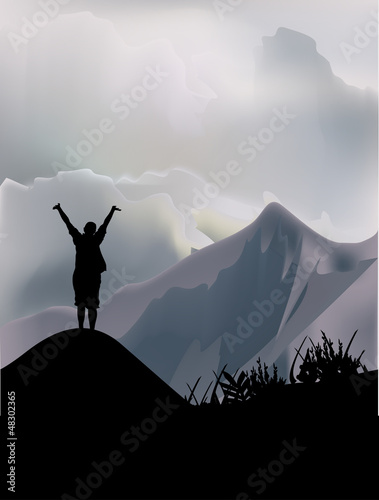 ingle woman in high mountains