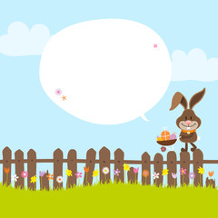 Bunny On Fence Wheelbarrow Speech Bubble