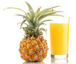 Ripe pineapple and juice glass isolated on white