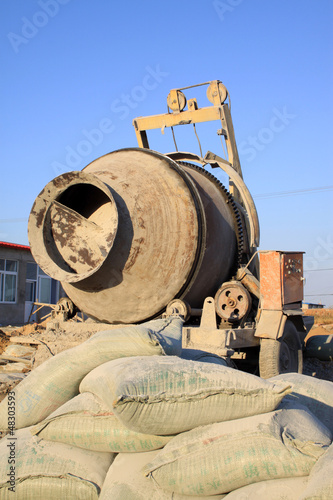 concrete mixer at the construction site