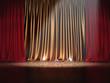Theater Bühne mit Gold roten Vorhängen