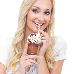 Young woman drinking ice coffee, isolated on white