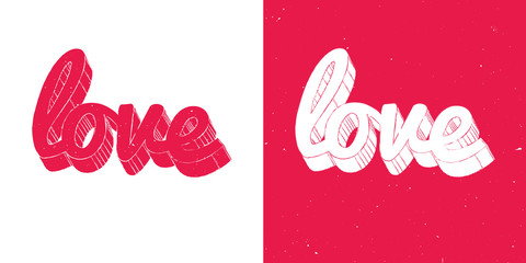 red and white love lettering comic style