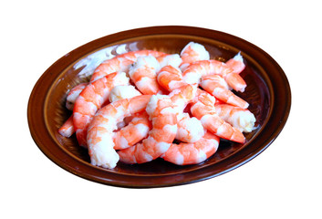 Peeled red shrimps on the plate