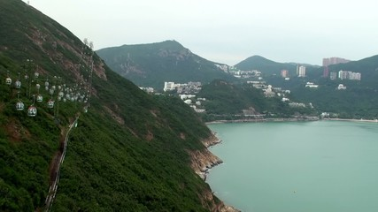 View of Ocean Park cable car & Deep Water Bay, Hong Kong.