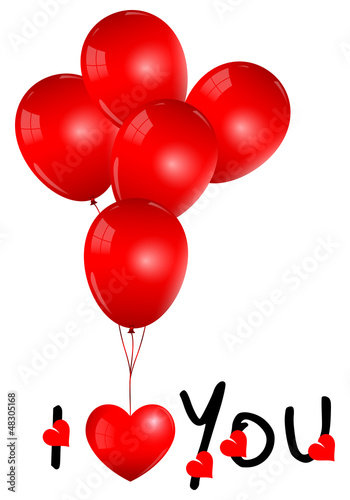 Beautiful Red Balloons with I Love You