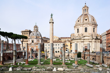 Trajan's Column and ruins of the Basilica Ulpia, Rome