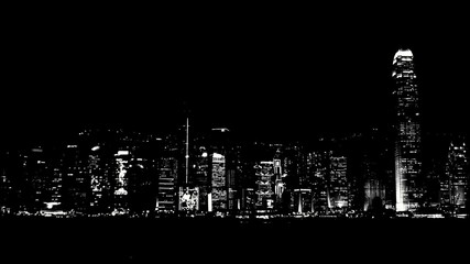 View of Hong Kong Island at night from Kowloon