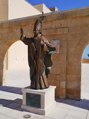 A statue of pope Benedicy XVI in Leuca in Italy