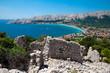 Baska bay sea and city from panoramic viewpoint near ancient rui