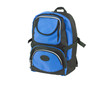 A blue canvas backpack for student or adventure