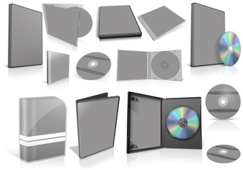 Grey multimedia disks and boxes on white