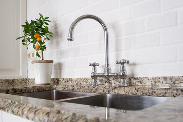 sink and mixer faucet in kitchen