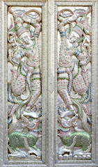 Ornate mosaic temple doors