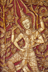 Thai temple door carving