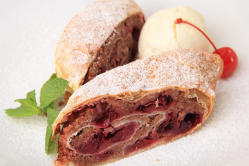 pieces of cherry strudel