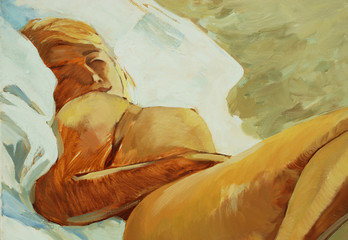 sleeping woman, picture oil on a canvas,  illustration