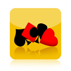Gambling icon with playing card suits