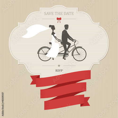Vintage wedding invitation with tandem bicycle. Place for text