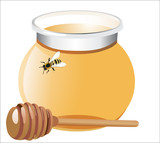 Honey with wood stick and bee, isolated on white background